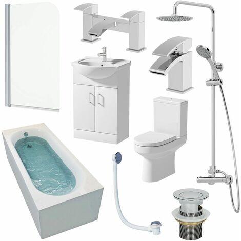 1700mm Bathroom Suite Single Ended Bath Shower Screen Toilet Basin Taps Vanity