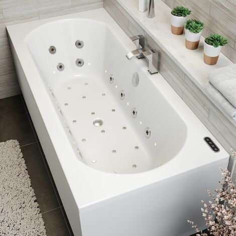 1700mm Double Ended Curved Whirlpool Bath LED Light Heater Ozonator Side Panel