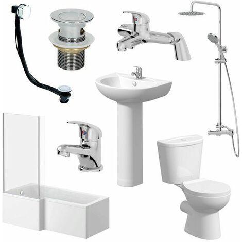 1700mm Essentials Bathroom Suite L Bath Shower Screen Toilet Basin - Left Hand