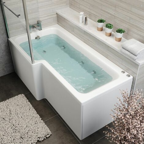 1700mm L Shaped LH Whirlpool Bath 6 Jets Screen Side End Panel White Bathroom