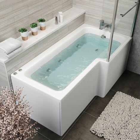 1700mm L Shaped RH Whirlpool Bath 6 Jets Screen Side End Panel White Bathroom