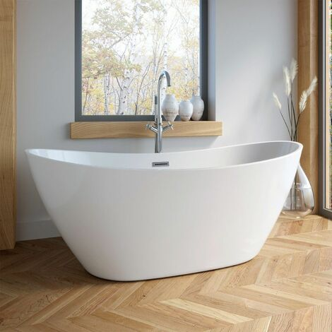 1700mm Modern Freestanding Bath Double Ended Overflow Waste White Acrylic Luxury
