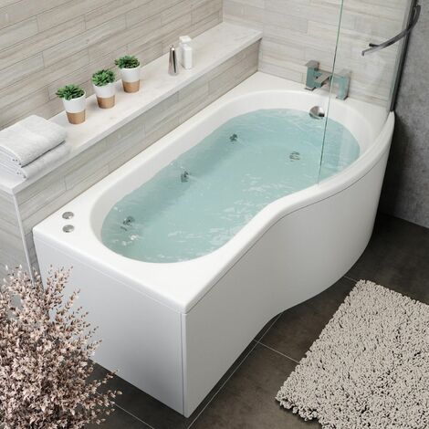 1700mm P Shaped RH Whirlpool Bath 6 Jets Screen Side End Panel White Bathroom