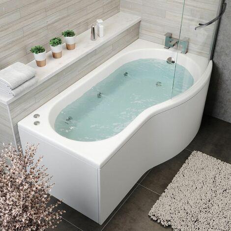1700mm P Shaped RH Whirlpool Bath 6 Jets Screen Side End Panel White Bathroom