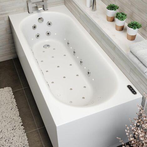 1700mm Single End Curved Whirlpool Bath LED Lighting Heater Ozonator Side Panel