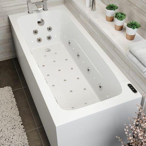 1700mm Single End Square Whirlpool Bath LED Lighting Heater Ozonator Side Panel