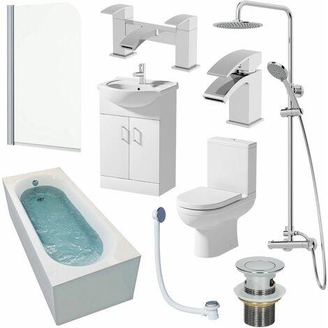 1700mm Single Ended Bathroom Suite Bath Shower Screen Toilet Vanity Basin Taps