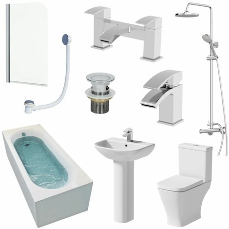 1700mm Single Ended Bathroom Suite Bath Shower Toilet Pedestal Basin Taps Screen