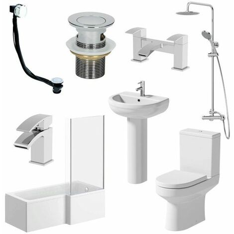 1700mm Tivoli Bathroom Suite L Bath Shower Screen Toilet Basin Taps - Left Hand