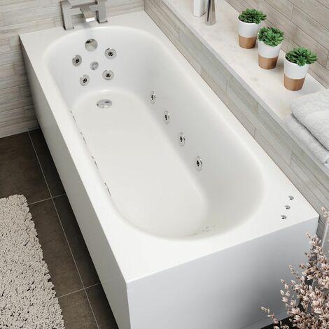 1700x700mm Single End Curved Whirlpool Bath LED Lighting Ozonator Side Panel