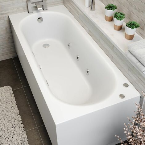 1700x700mm Single Ended Curved Whirlpool Bath 6 Jets Side Panel Bathroom