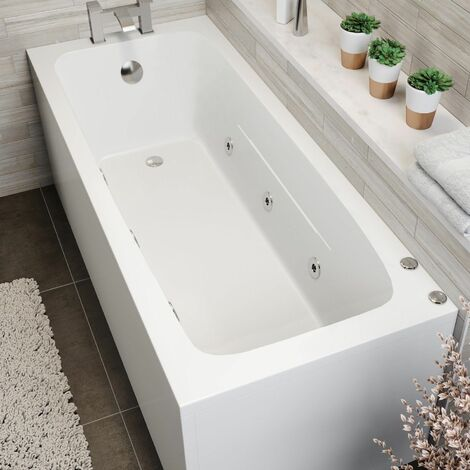 1700x700mm Single Ended Square Whirlpool Bath 6 Jets Side Panel Bathroom