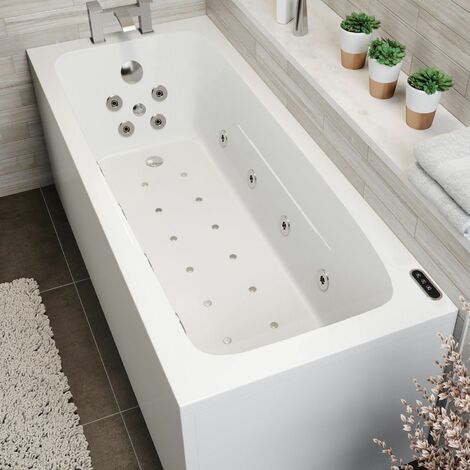 1700x700mm Single Ended Square Whirlpool Bath LED Lighting Ozonator Side Panel
