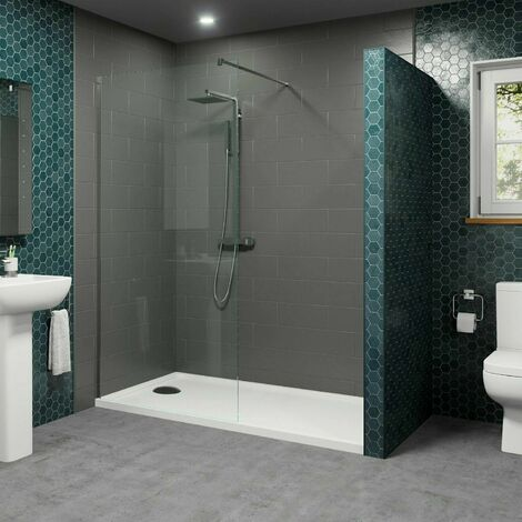 1700x700mm Walk In Shower Enclosure 1000mm Wet Room Screen 8mm Glass Tray Waste