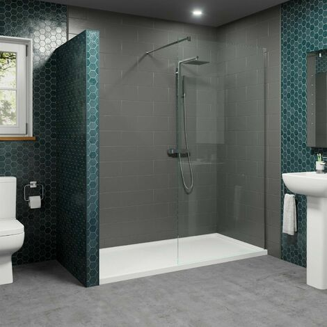 1700x700mm Walk In Shower Enclosure 1100mm Wet Room Screen 8mm Glass Tray Waste