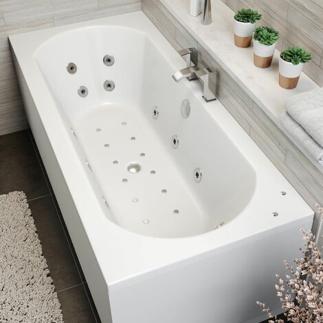 1700x750mm Double Ended Curved Airspa Whirlpool Bath Side Panel White Bathroom