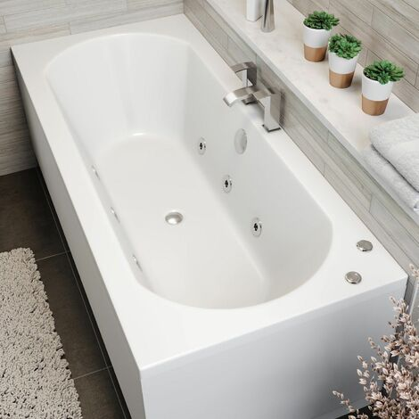 1700x750mm Double Ended Curved Whirlpool Bath 6 Jets Side Panel Bathroom