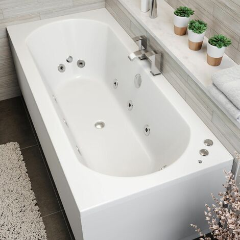 1700x750mm Double Ended Curved Whirlpool Bath LED Lighting 10 Jets Side Panel