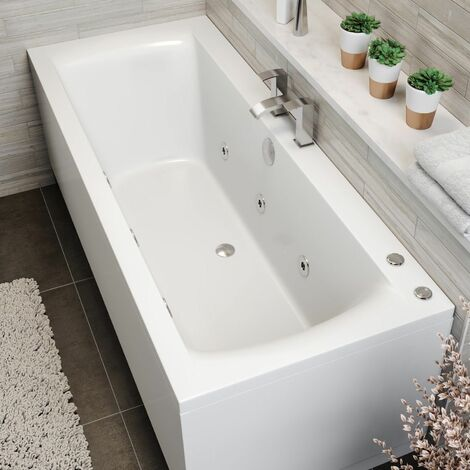 1700x750mm Double Ended Square Whirlpool Bath 6 Jets Side Panel Bathroom