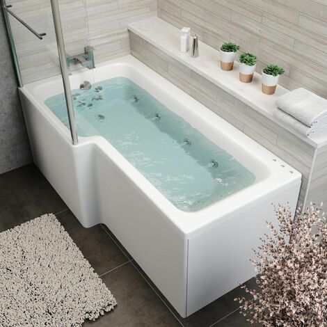 1700x850mm LH L Shape Whirlpool Jacuzzi Bath 22 Jet LED Lighting Screen & Panel