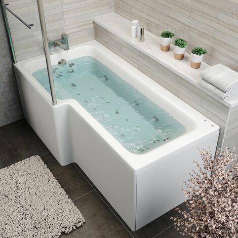 "main image of ""1700x850mm LH L Shape Whirlpool Jacuzzi Bath 26 Jets Bath Screen & Front Panel"""