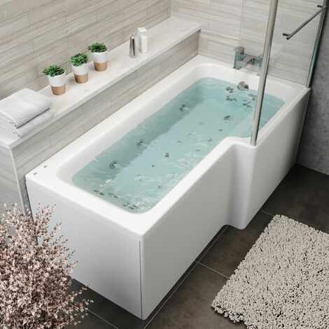 1700x850mm RH L Shape Whirlpool Jacuzzi Bath 26 Jets Bath Screen & Front Panel