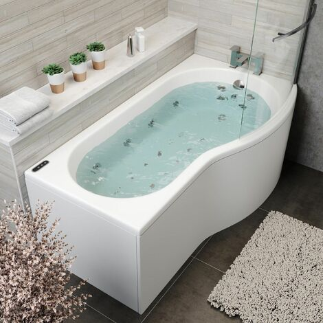 1700x900mm RH P Shape Whirlpool Jacuzzi Bath 34 Jet LED Lighting Screen & Panel