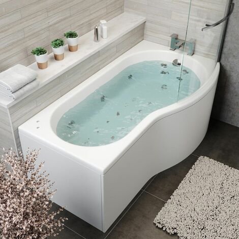 1700x900mm RH P Shaped Whirlpool Jacuzzi Bath 26 Jets 5mm Screen & Front Panel