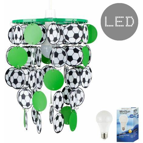 17028 Green Football Pendant Shade + 6w ES LED GLS