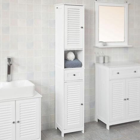170*32*30cm Meuble salle de bain blanc Armoire Colonne Étagère de rangement