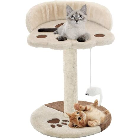 Cat Tree with Sisal Scratching Post 40 cm Light Beige and Brown