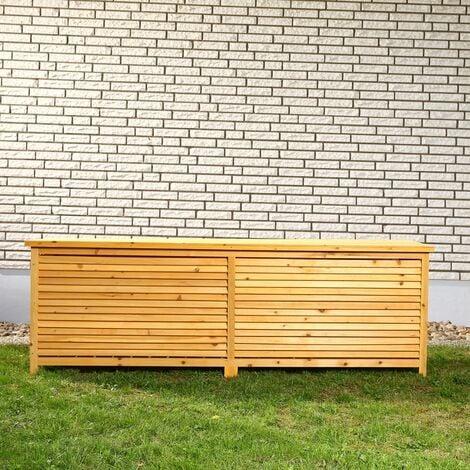 170CM XXL Holz Bank Auflagenbox Kissenbox Gartenbox Gartentruhe Truhe Holztruhe