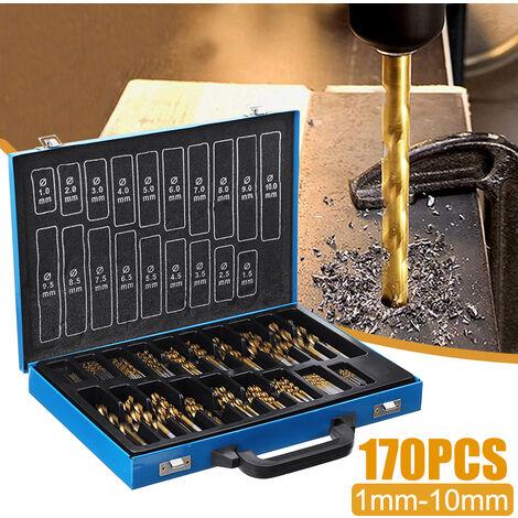 170pcs HSS Juego de mini brocas de acero cobalto Abridor de orificios de vástago recto Taladro eléctrico Herramientas de perforación con caja para carpintería de bricolaje (1-10 mm)