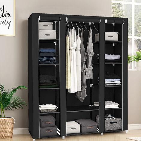 172 * 134 * 43cm black three-door non-woven wardrobe