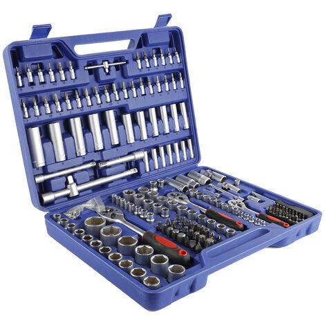 172 pcs Jeu de douilles femelle Mallette à outils Acier au Chrome-Vanadium - Coffret de réparation - Bleu-argent