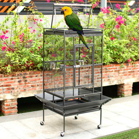 173cm Large Metal Rolling Parrot Cage Bird Cage for Canary Cockatiel Playtop