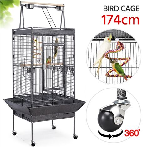 174cm Large Metal Rolling Parrot Cage Bird Cage for Canary Cockatiel Playtop