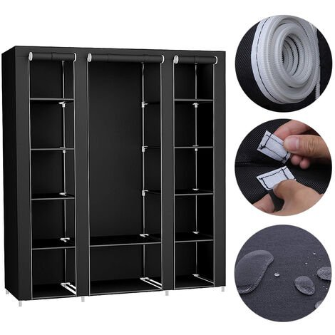 175 * 150 * 45cm black non-woven three-door wardrobe with hanging clothes
