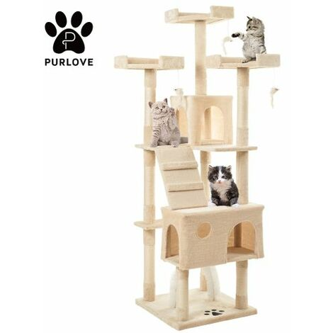 175cm Cat Tree Tower Activity Centre with Scratching Posts, Large Cat Climbing Tower Tree Furniture with Cat Arch / Toy Mice / Perches Platform / Condos(Beige)