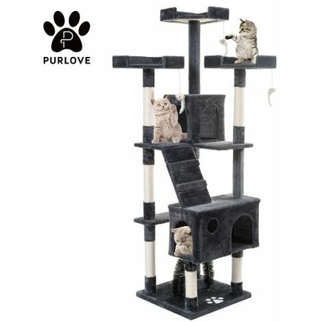 175cm Cat Tree Tower Activity Centre with Scratching Posts, Large Cat Climbing Tower Tree Furniture with Cat Arch / Toy Mice / Perches Platform / Condos(grey)
