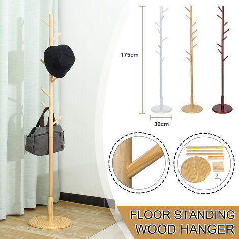 175CM Tall Wood Coat Rack Free Standing Clothes Tree