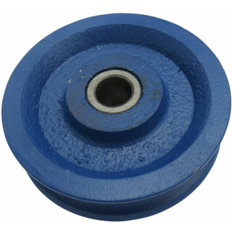 Image of 175MM Blue Painted Cast Iron Sheave With Bush - 19MM Wire Rope Spare Replacement