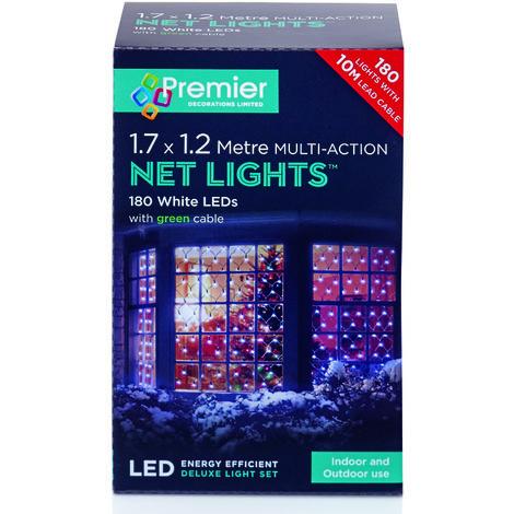 175x120cm 180 Multi Action LED Net Light - White