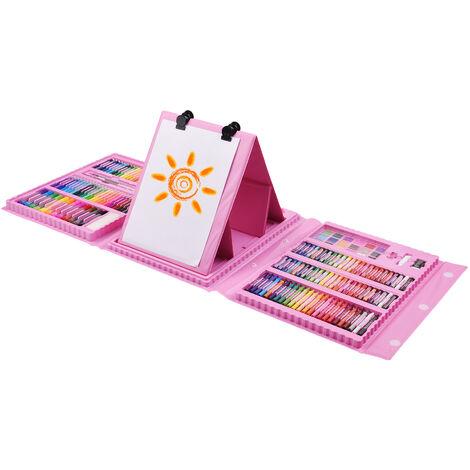 176 Piece Art Deluxe Set Peinture Et Dessin Kit Avec Recto-Verso Trifold Chevalet Pastels Crayons De Couleur Crayons De Couleur Marqueurs Cakes Aquarelle Pinceaux Fournitures D'Art