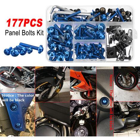 177PCS noir bleu pour kit de boulons de panneau de pare-chocs de moto vis de clips de fixation bleu