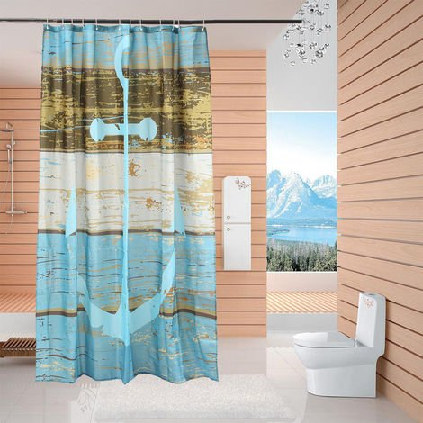 178X176Cm Anchor Stage Shower Curtains Water Resistant Bath With 12 Hooks Hasaki