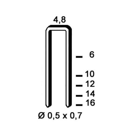 18 000 agrafes galvanisées U-12 - 4,8 x 12 x D. 0,5 x 0,7 mm - 6U-121 - Alsafix - -