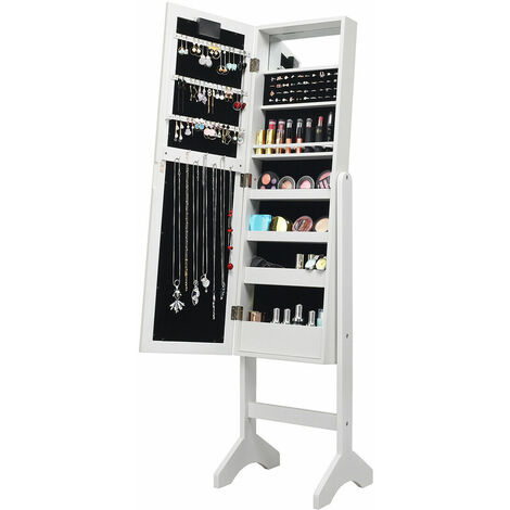 18 LEDs Jewelry Cabinet Floor Standing Storage Organizer w/Mirror Adjustable