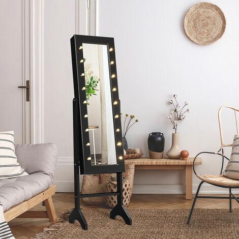 "main image of ""18 LEDs Jewelry Cabinet Floor Standing Storage Organizer w/Mirror Adjustable"""