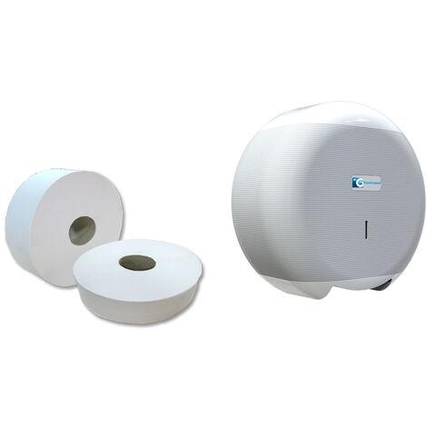 18 Rollos papel higiénico 130m industrial reciclado con dispensador